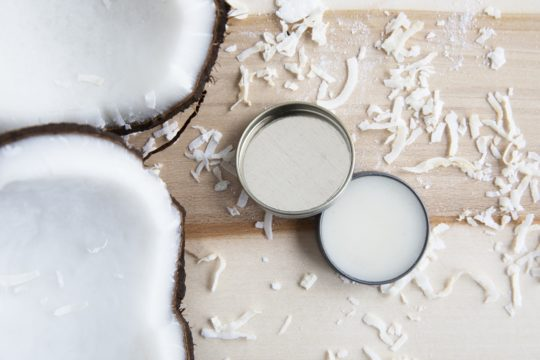 coconut oil lip balm which consists of beeswax, coconut oil and olive oil